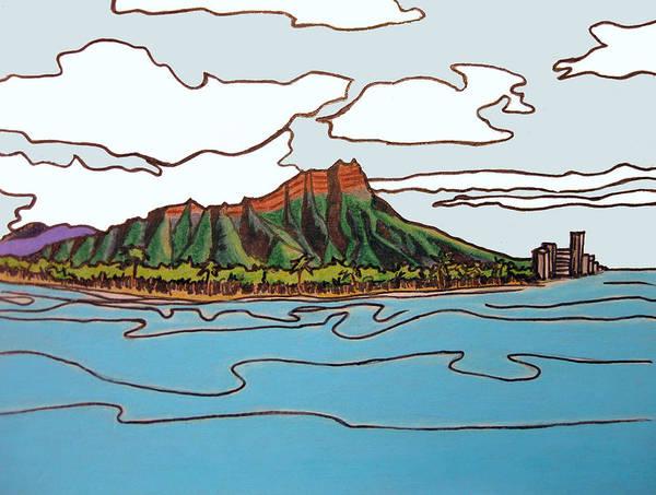 Oahu Drawing - Diamond Head by Red Pine