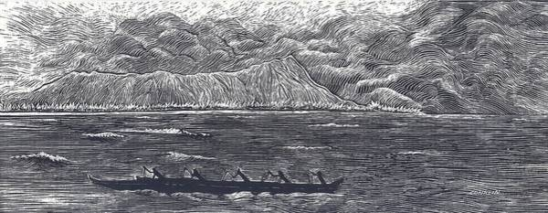 Oahu Drawing - Diamond Head With Outrigger by Cynthia Conklin