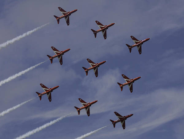 Red Arrows Photograph - Diamond Nine by Nigel Jones