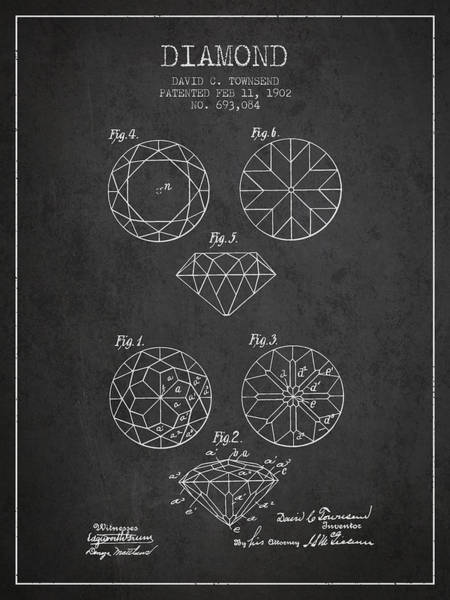 Patent Application Wall Art - Digital Art - Diamond Patent From 1902 - Charcoal by Aged Pixel