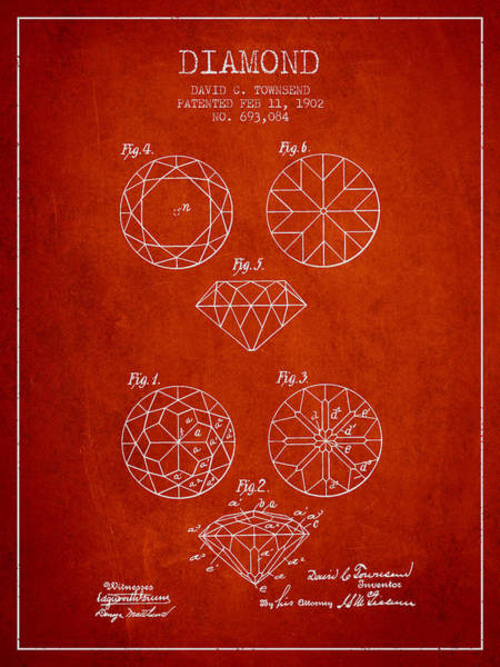 Wall Art - Digital Art - Diamond Patent From 1902 - Red by Aged Pixel