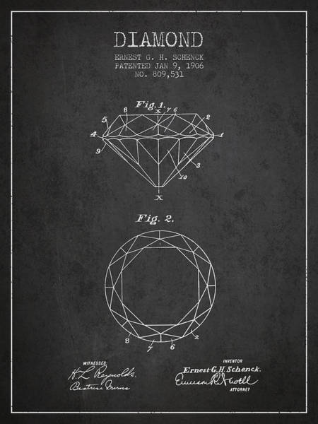 Wall Art - Digital Art - Diamond Patent From 1906 - Charcoal by Aged Pixel
