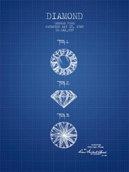 Wall Art - Digital Art - Diamond Patent From 1945 - Blueprint by Aged Pixel