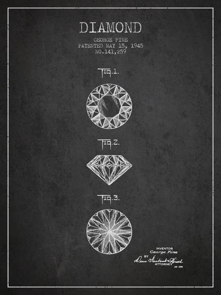 Wall Art - Digital Art - Diamond Patent From 1945 - Charcoal by Aged Pixel
