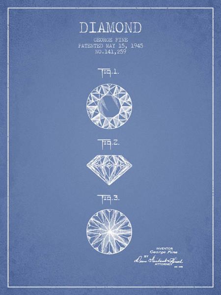 Wall Art - Digital Art - Diamond Patent From 1945 - Light Blue by Aged Pixel