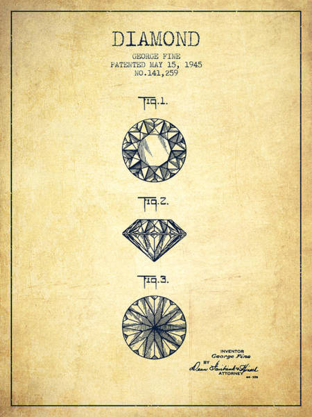 Wall Art - Digital Art - Diamond Patent From 1945 - Vintage by Aged Pixel