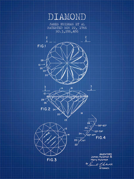 Patent Mixed Media - Diamond Patent From 1966- Blueprint by Aged Pixel