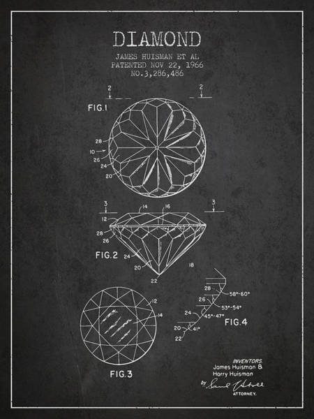 Vintage Patent Drawing - Diamond Patent From 1966- Charcoal by Aged Pixel