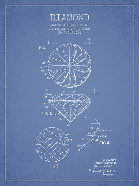 Vintage Patent Drawing - Diamond Patent From 1966- Light Blue by Aged Pixel