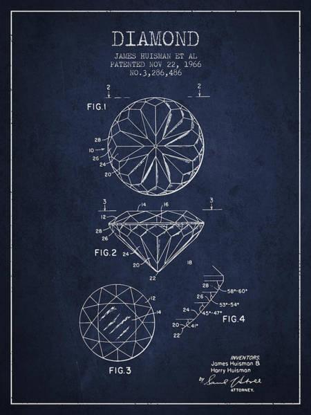 Wall Art - Digital Art - Diamond Patent From 1966- Navy Blue by Aged Pixel