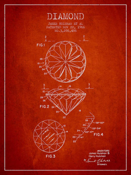 Wall Art - Digital Art - Diamond Patent From 1966- Red by Aged Pixel