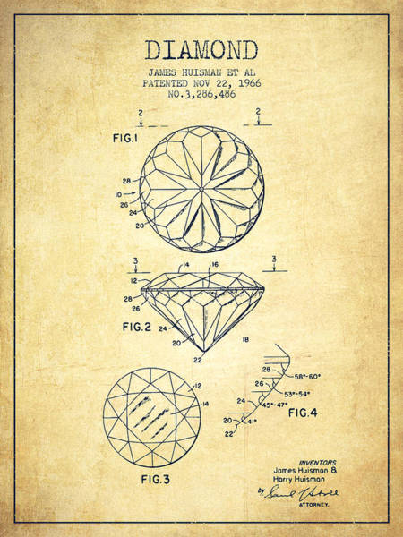 Vintage Patent Drawing - Diamond Patent From 1966- Vintage by Aged Pixel