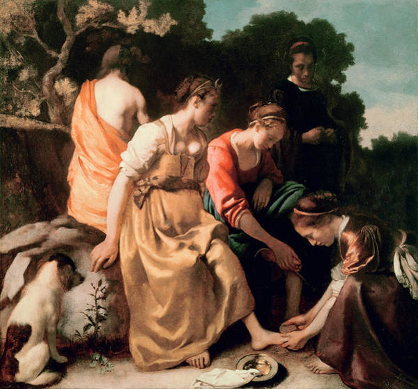 Mythology Painting - Diana And Her Companions by Jan Vermeer