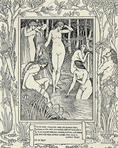 Curve Drawing - Diana And Her Nymphs Illustration For The Faerie Queen by Walter Crane