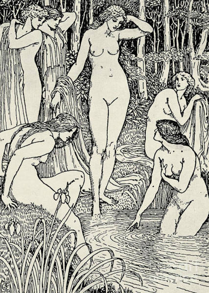 Skinny Drawing - Diana And Her Nymphs by Walter Crane