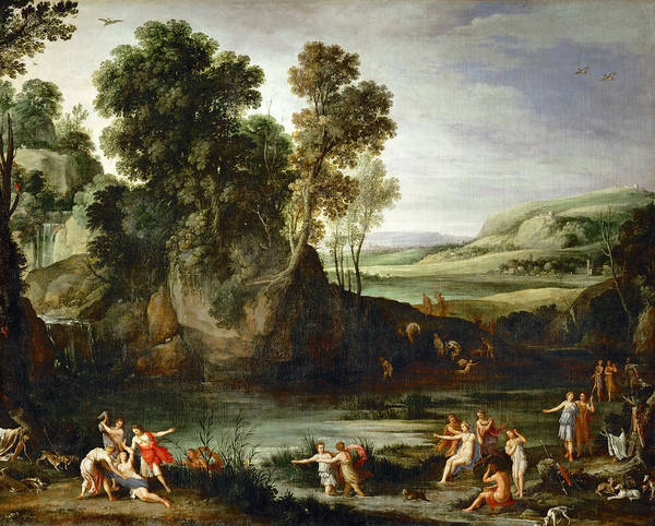 Pregnancy Painting - Diana Discovering The Pregnancy Of Callisto by Attributed to Paul Bril