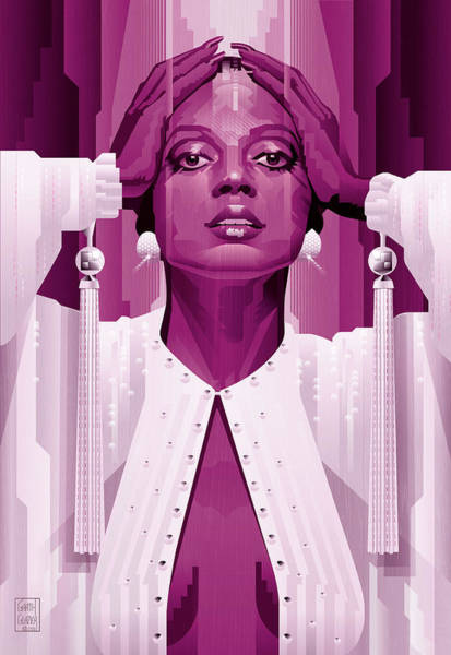 Wall Art - Digital Art - Diana Ross In Magenta Monocrome by Garth Glazier