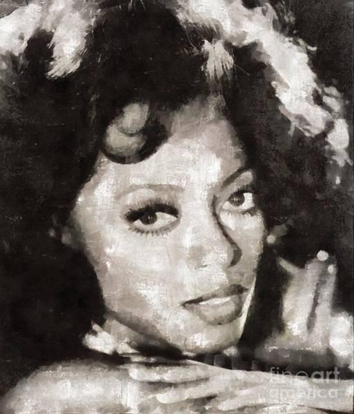 Wall Art - Painting - Diana Ross, Singer by Mary Bassett