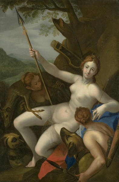 Wall Art - Painting - Diana With Nymphs, Dogs And Game by Hans von Aachen