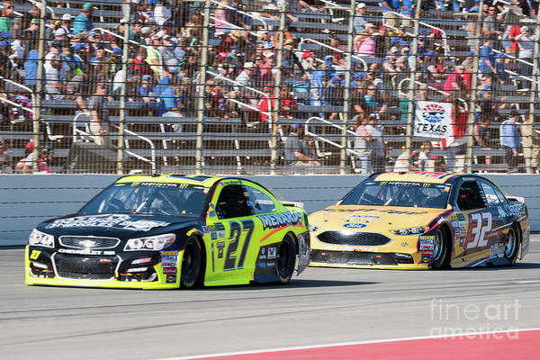 Photograph - Matt Dibenedetto Chasing Down Paul Menard by Paul Quinn