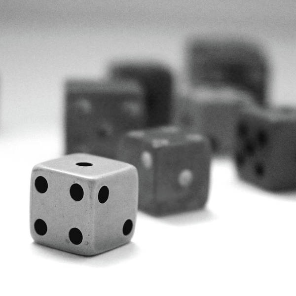Wall Art - Mixed Media - Dice 1- Black And White Photo By Linda Woods by Linda Woods
