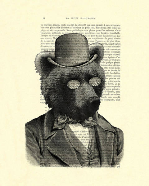 Wall Art - Digital Art - Bear Portrait - Animals In Suits by Madame Memento