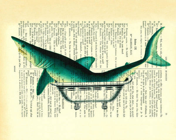 Shark In Bathtub Illustration On Dictionary Paper Art Print