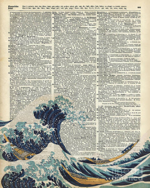 Pastel Drawing Painting - Dictionary Art - The Great Wave Off Kanagawa  by Anna W