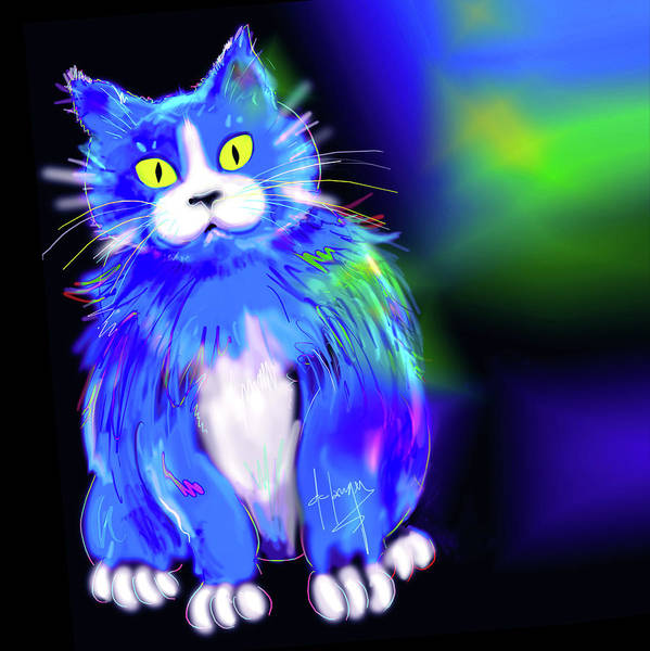 Painting - Diego Blue Dizzycat by DC Langer