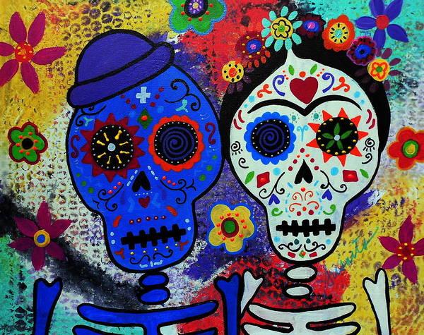 Wall Art - Painting - Diego Rivera And Frida Kahlo Dia De Los Muertos by Pristine Cartera Turkus