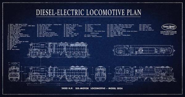 Wall Art - Digital Art - Diesel-electric Locomotive Plan C. 1960 by Daniel Hagerman
