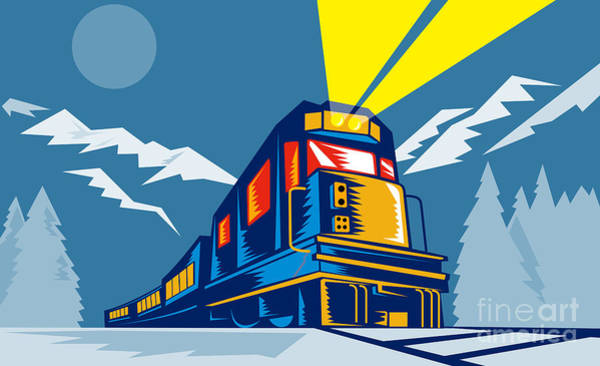Diesel Train Winter Art Print by Aloysius Patrimonio