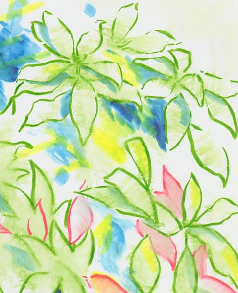 Painting - Different Coloured Hydrangea Leaves - Green Red Yellow by Mike Jory