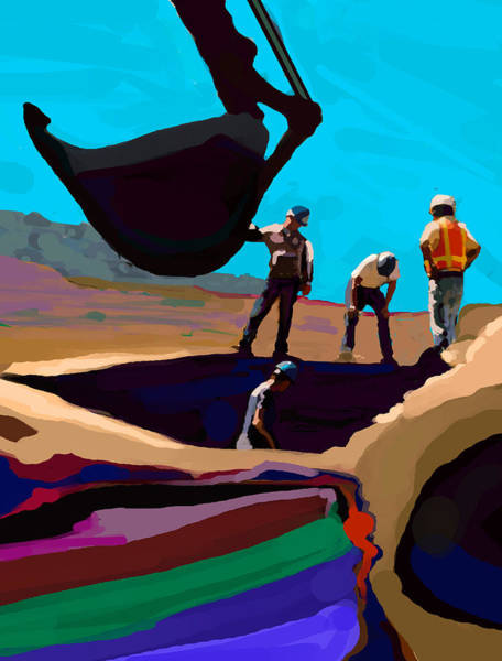 Construction Painting - Diggers by Brad Burns
