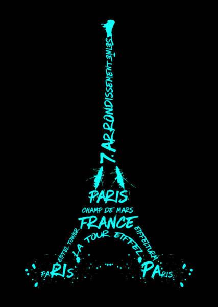 Contour Digital Art - Digital-art Eiffel Tower Cyan by Melanie Viola