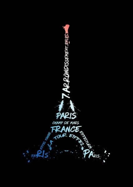 Contour Digital Art - Digital Art Eiffel Tower - National Colors by Melanie Viola