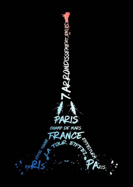 Contour Digital Art - Digital-art Eiffel Tower National Colours by Melanie Viola