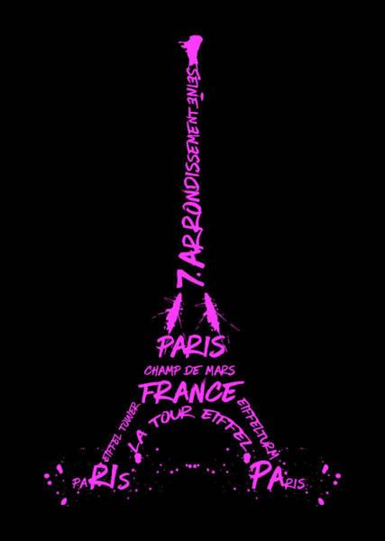 Contour Digital Art - Digital-art Eiffel Tower Pink by Melanie Viola
