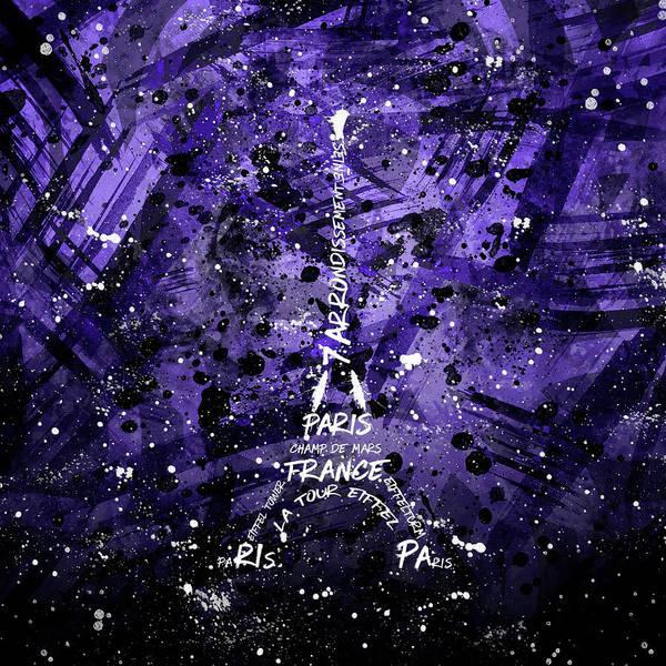 Contour Digital Art - Digital Art Eiffel Tower - Purple by Melanie Viola