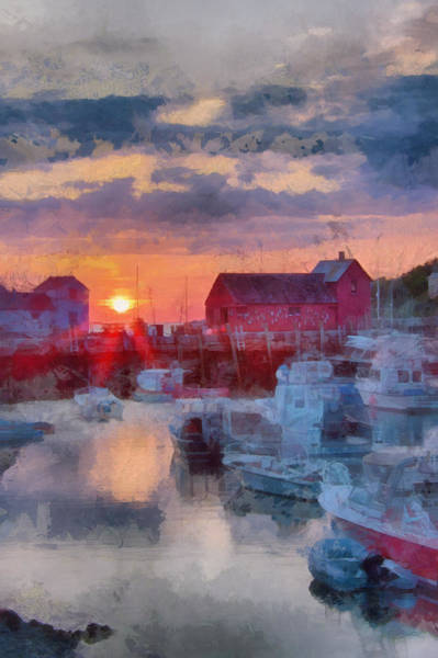 Photograph - Digital Art Of Dawn Over Rockport by Jeff Folger
