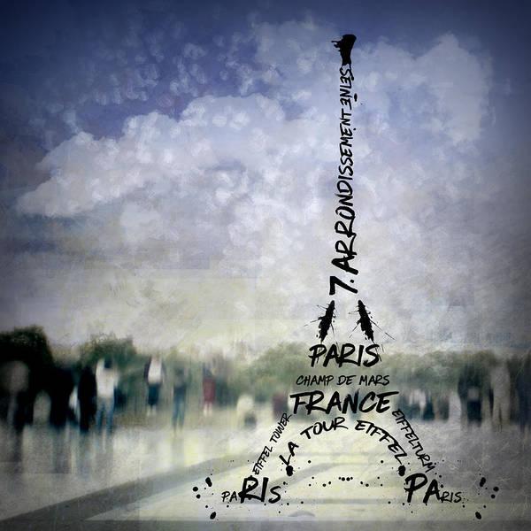 La Tour Eiffel Photograph - Digital-art Paris Eiffel Tower No 1 by Melanie Viola