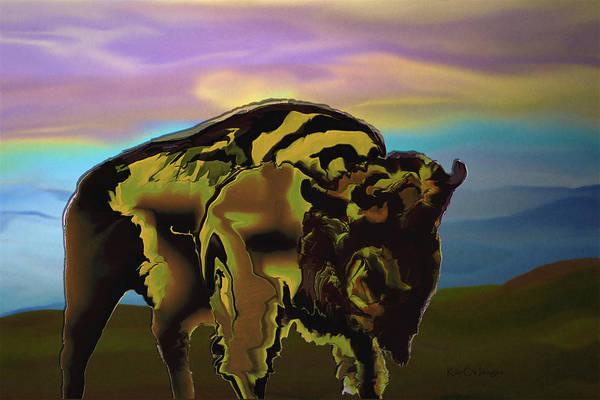 Digital Art - Digital Bison 2 by Kae Cheatham