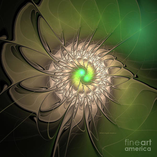 Digital Art - Digital Green Spin by Deborah Benoit