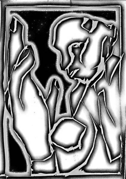 Digital Art - Digital Grey Gray Series - Man And Hand by Artist Dot