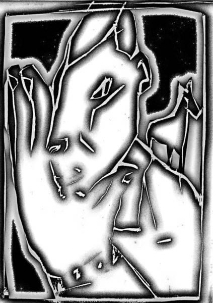 Digital Art - Digital Grey Gray Series - Man Leaves Horse by Artist Dot
