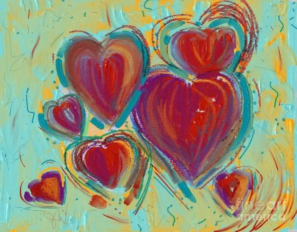 Painting - Digital Hearts by Jeanie Watson