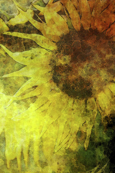Photograph - Digital Lost Watercolor Bee And Sunflower 2248 Lw_2 by Steven Ward