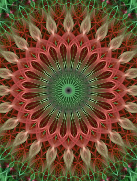 Photograph - Digital Mandala In Red And Green by Jaroslaw Blaminsky