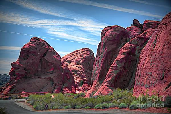 Valley Of Fire State Park Digital Art - Digital Mixed Valley Of Fire  by Chuck Kuhn