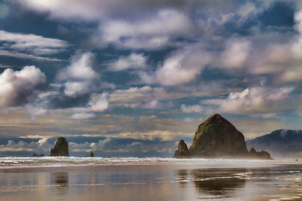 Oregon Coast Digital Art - Digital Painting Of Cannon Beach by Sven Brogren